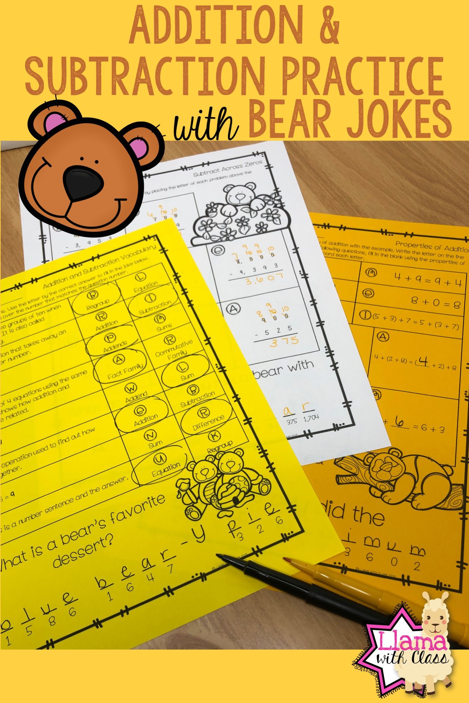 Addition And Subtraction Worksheets With Bear Jokes