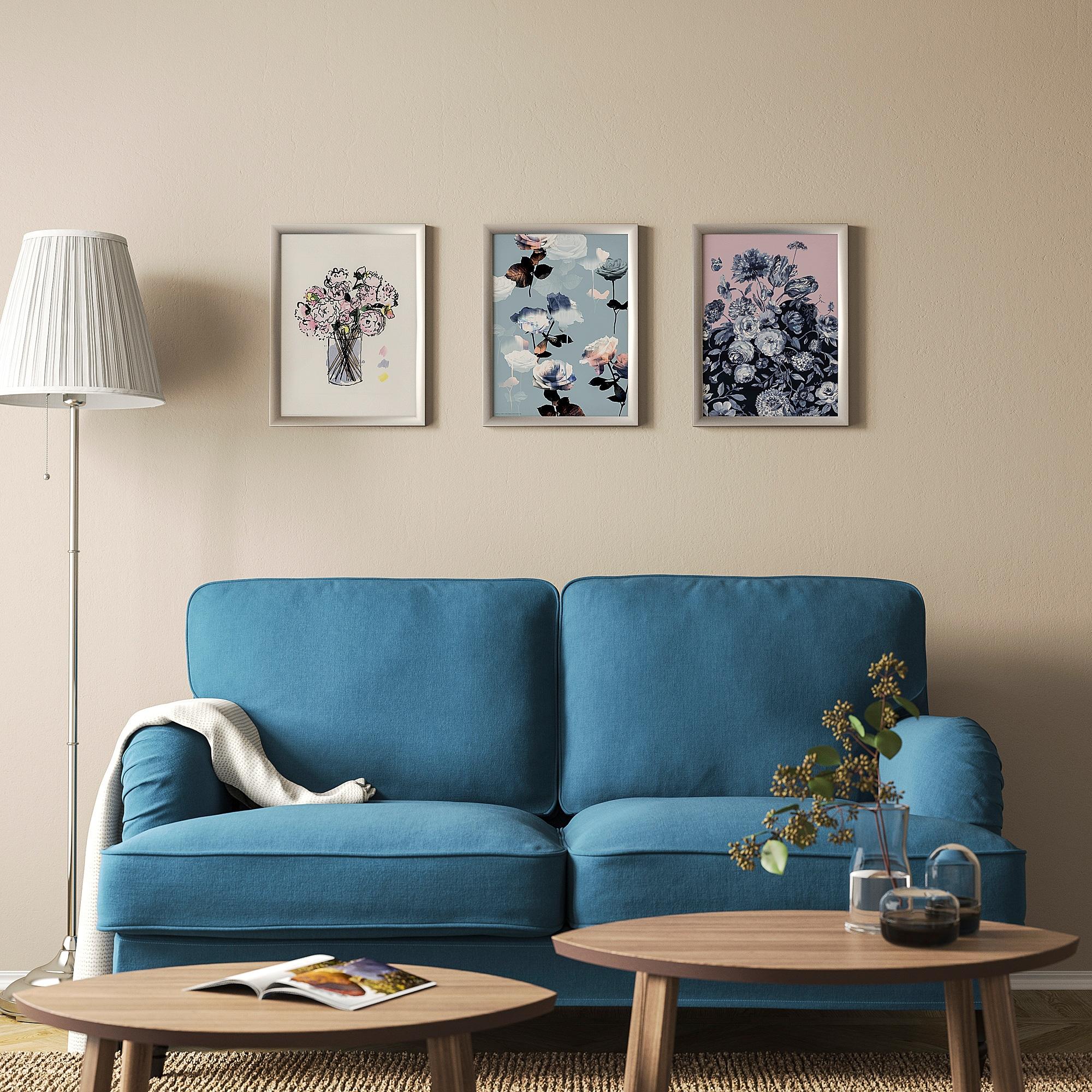 Ikea Bild Poster Pink Flower Blue Butterfly