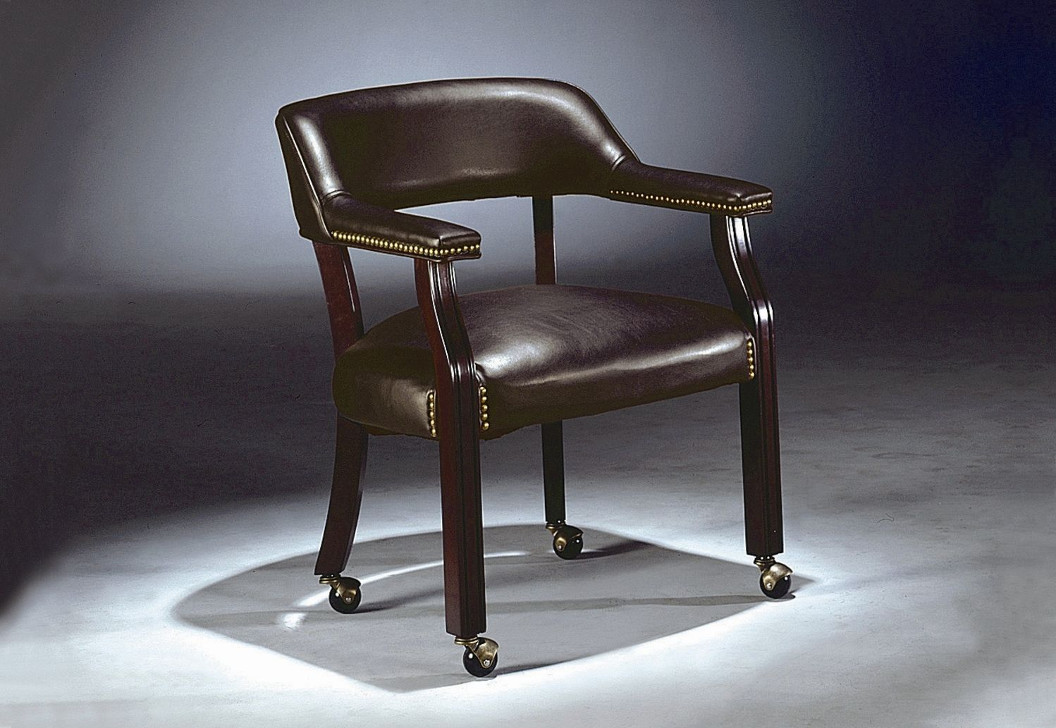 I Love This Leather Studded Captain S Chair With Wheels It S On