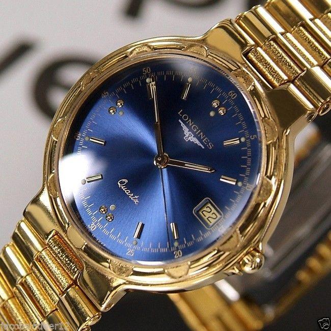 longines elegance quartz date 18k gold plated blue dial swiss mens longines conquest mens quartz date blue dial 18k gold plated swiss rare watch