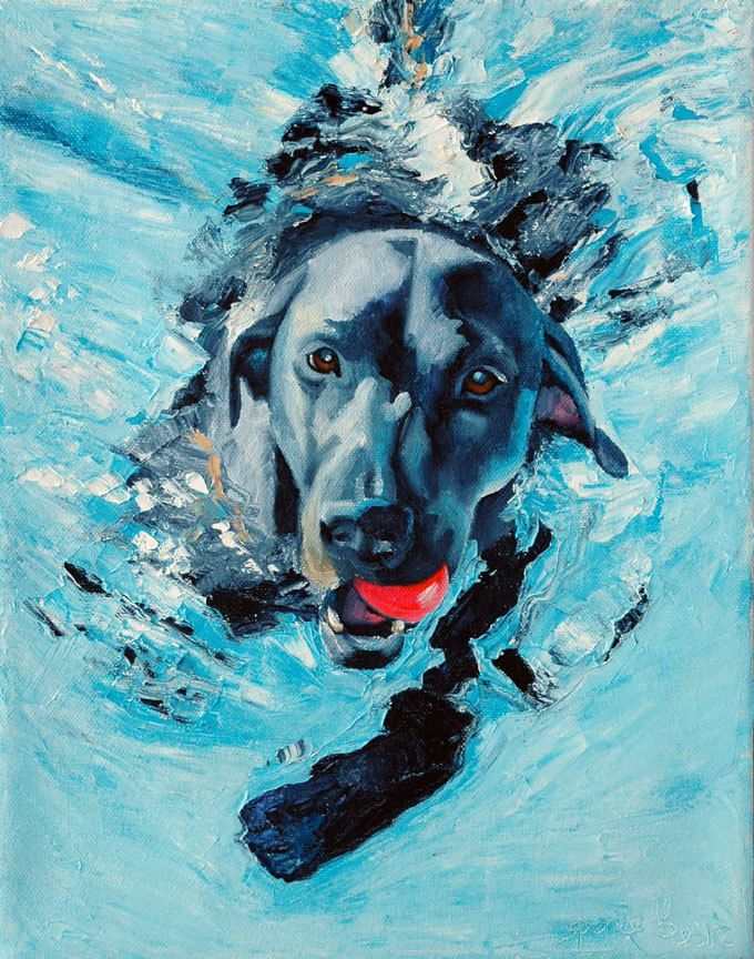 Original Oil Painting Black Labrador Retriever Dog Art 11x14 Swim