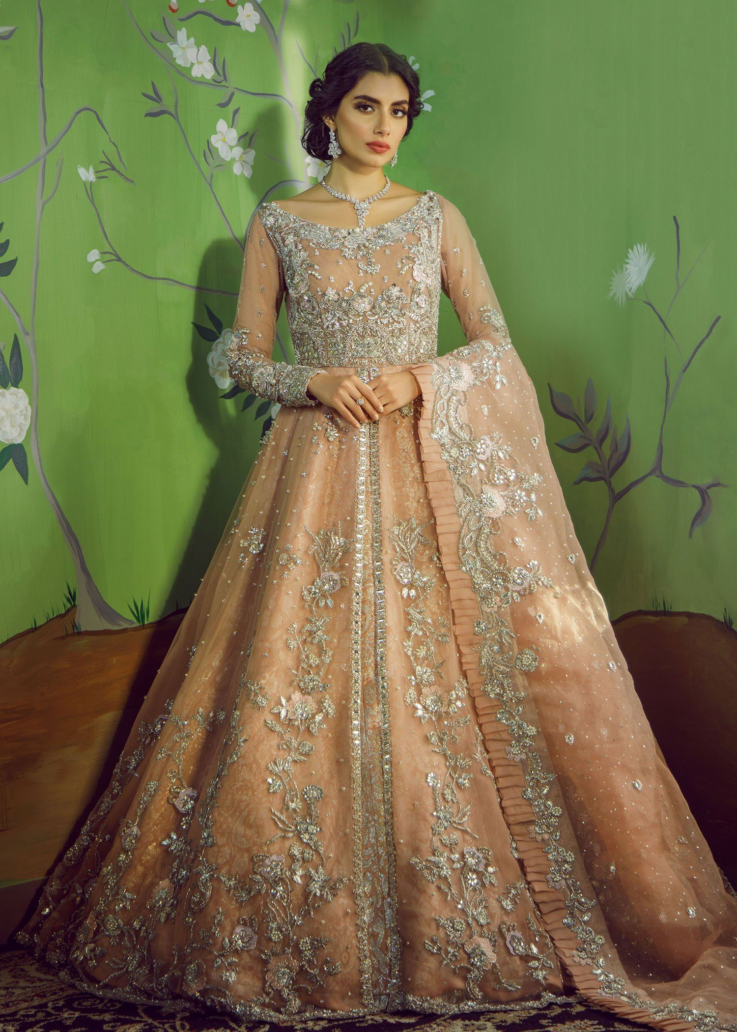 Beautiful Heavy Bridal Maxi in Soft Peach B1994 in 2020