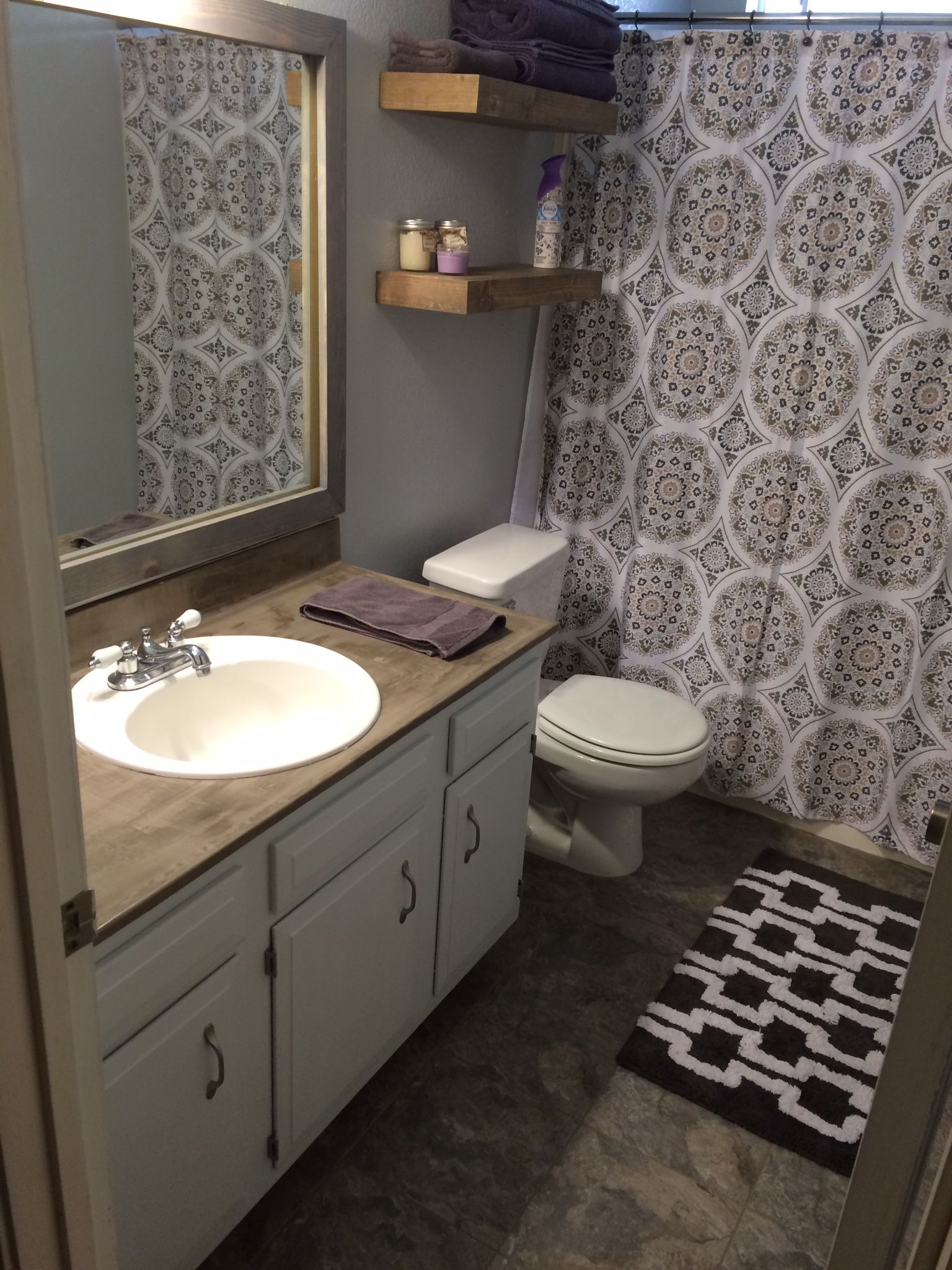 Bathroom remodel on a budget: vinyl tile floors, Ardex Feather ...