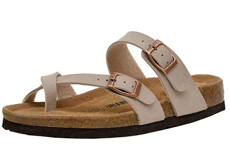 Cushionaire Women S Luna Cork Footbed Sandal With Comfort In 2020 Footbed Sandals Cork Footbed Sandals Sandals Outfit Casual