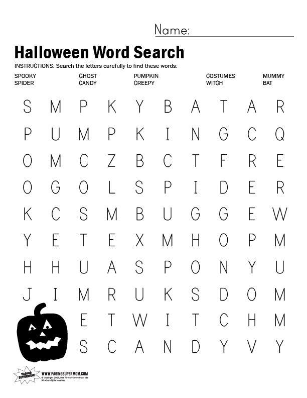 Free Printable Halloween Word Search Worksheet | Halloween word ...