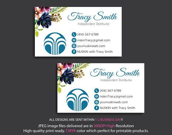 Carte De Visite Nu Skin Business Cards Personalized NuSkin Card Watercolor Flower Marketing