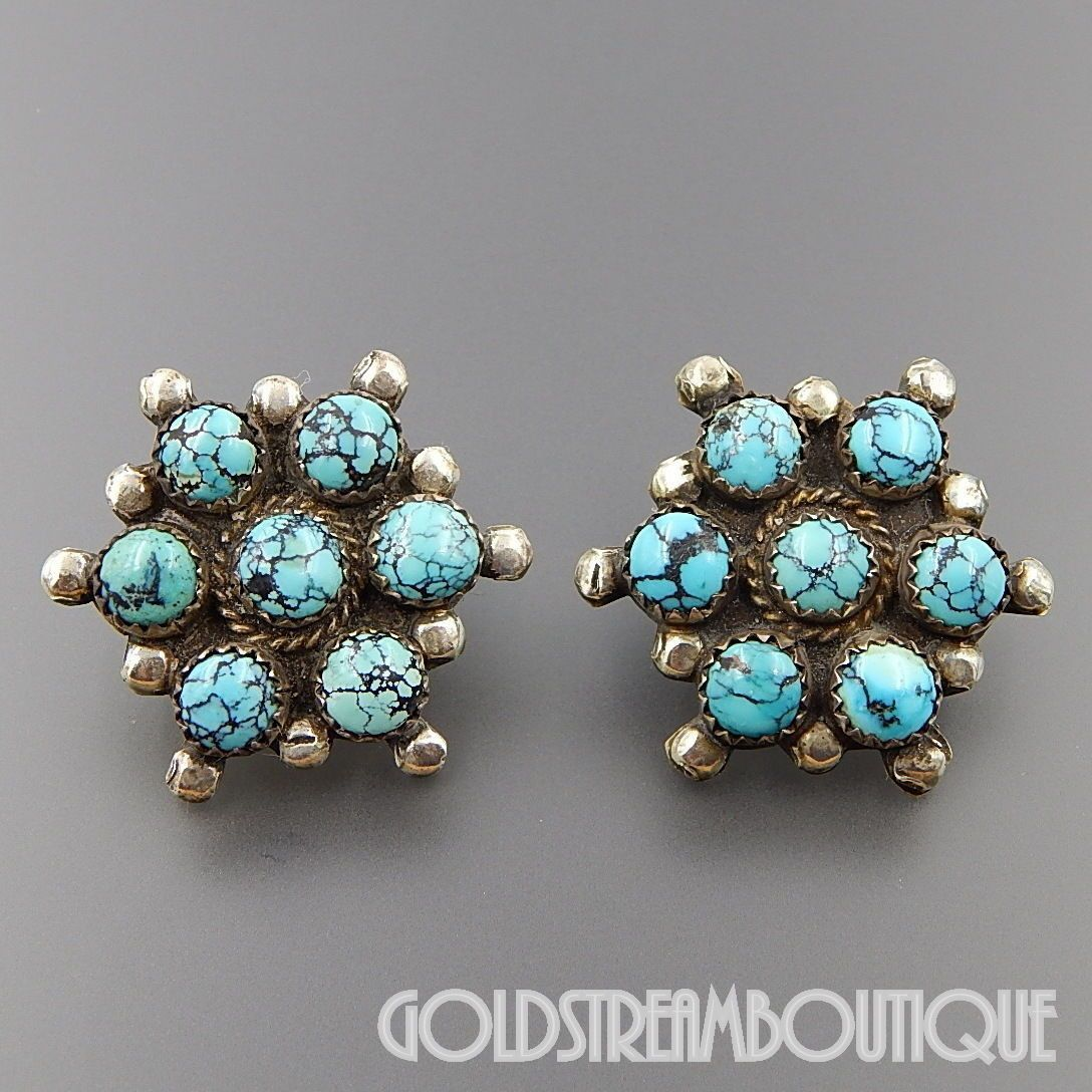 NATIVE AMERICAN JAMES FRANCISCO NAVAJO STERLING SILVER SPIDERWEB TURQUOISE CLUSTER POST EARRINGS