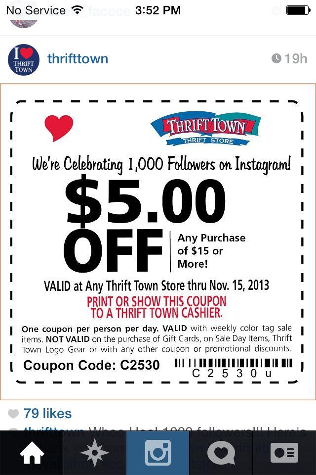 Thrift Town Coupon Good Until November 15 Thrifting Coupons Print
