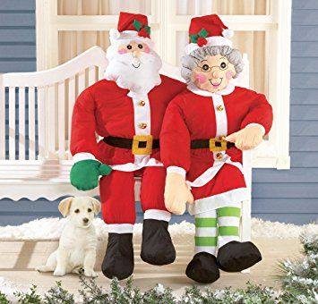 Set Of 2 Mr Mrs Claus Stuffable Couple Patio Porch Greeter Christmas Whimsical Holiday Decoration