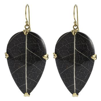 Brass Leaf Earrings. The ornament in these unusual earrings are real sirsak leaves preserved in black resin. Sirsak leaves are being studied by cancer researchers for their healing properties. All Nagicia jewelry is handcrafted by Balinese artisans.  @ Nagicia by Tricia Kim - Best Bali designs jewellery, A Treasure from the Island of the Gods