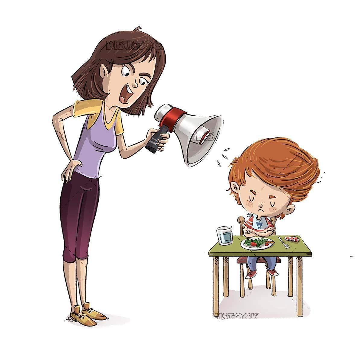 Angry Mother With Her Son For Food In 2020 Character Illustration Cartoon Drawings Family Art
