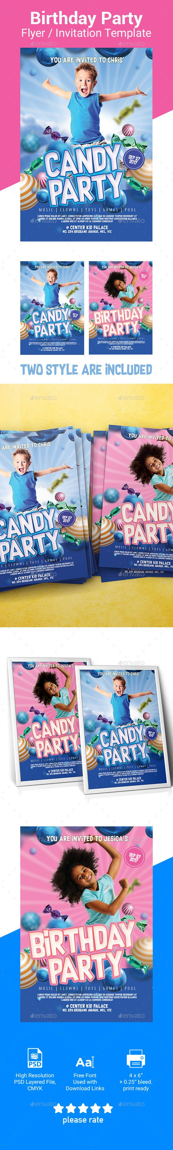 Kid Party Invitation  Flyer Template  Flyer Template Psd