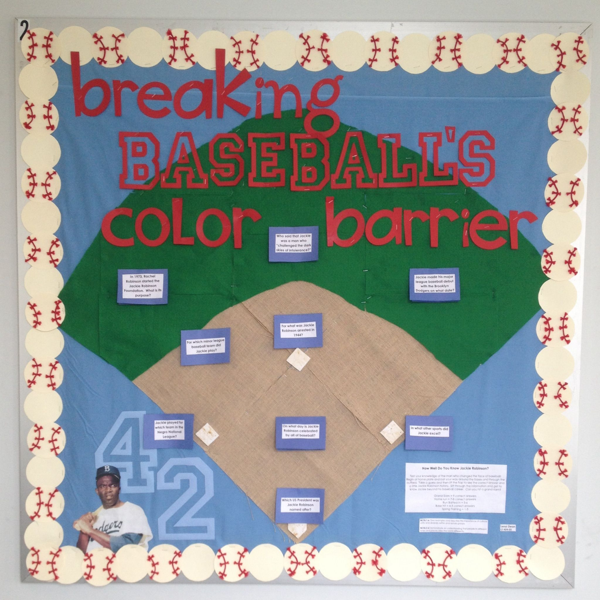 Jackie Robinson Bulletin Board Created By Lenzi Dean