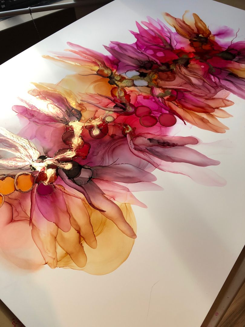 Ethereal alcohol ink art.