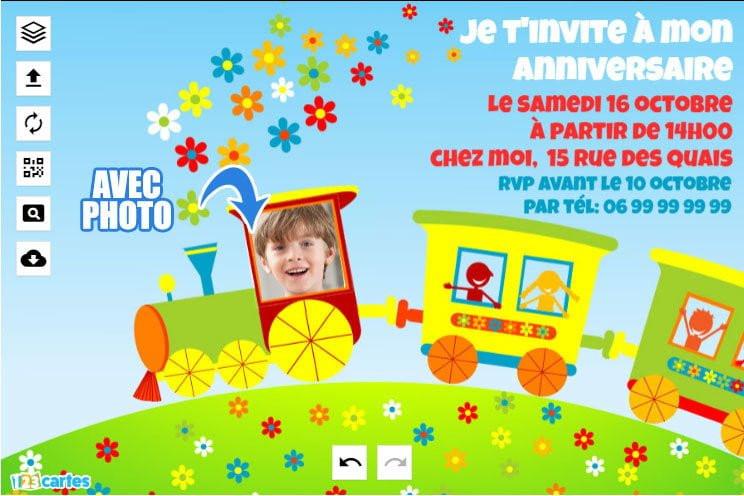 Carton D'anniversaire Gratuit A Imprimer Unique Invitation Anniversaire Train Avec Photo