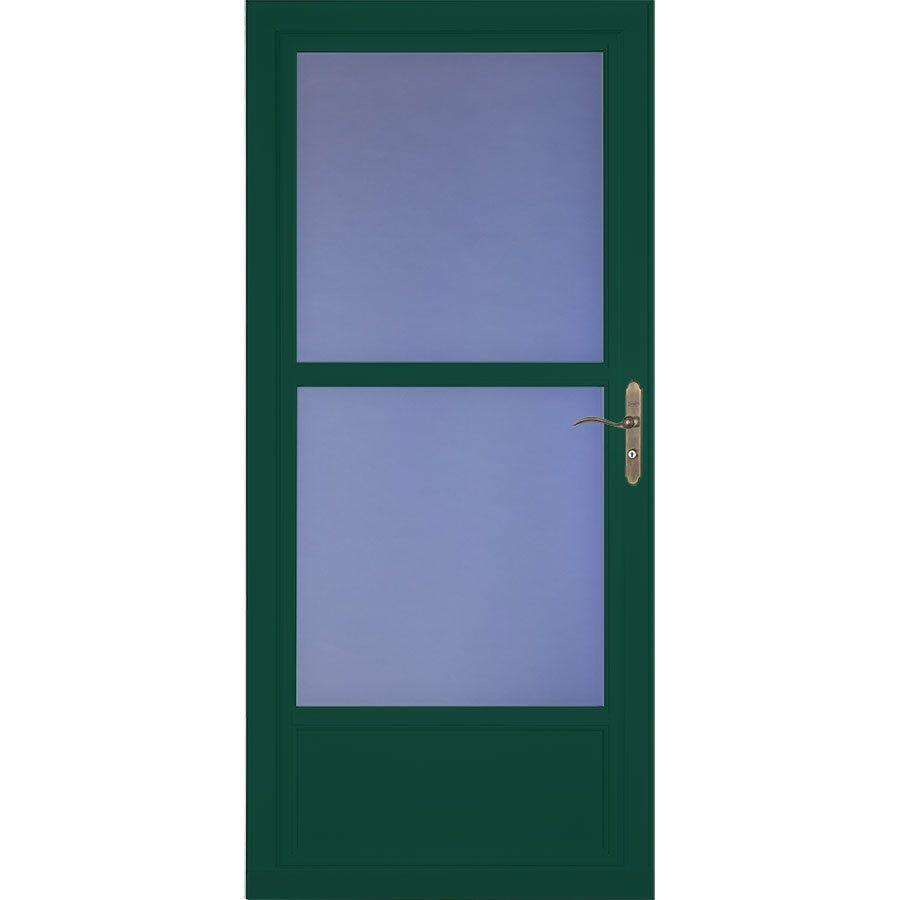 Larson Tradewinds Selection Green Mid View Aluminum Retractable Screen Storm Door 35 75in X 79 75in 14606122 In 2020 Aluminum Storm Doors Storm Door Retractable Screen