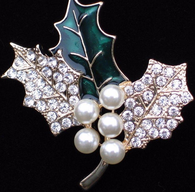 Nib anne klein christmas rhinestone pearl holly berry leaf pin