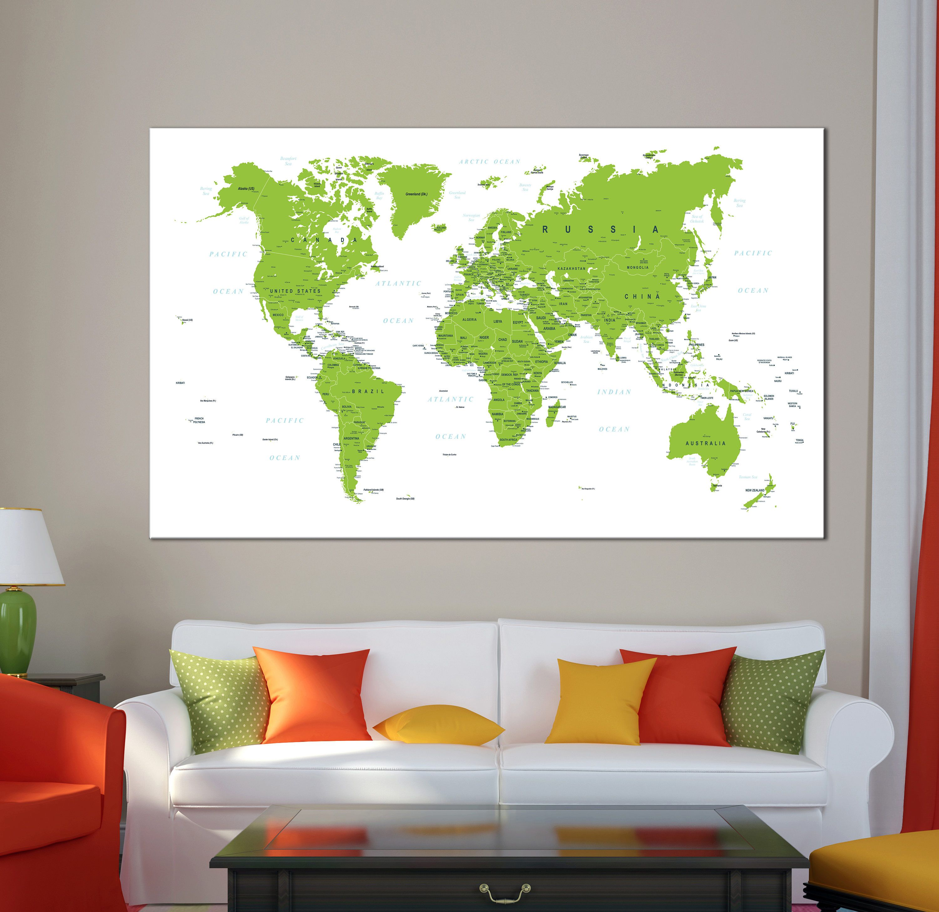 Detailed world map green and white color world map art canvas print detailed world map green and white color world map art canvas print world map canvas set freerunsca Images