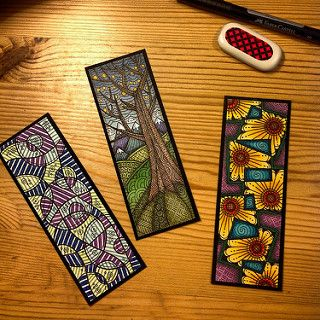 Zentangle bookmarks | Hand drawn on watercolor paper, colore… | Flickr