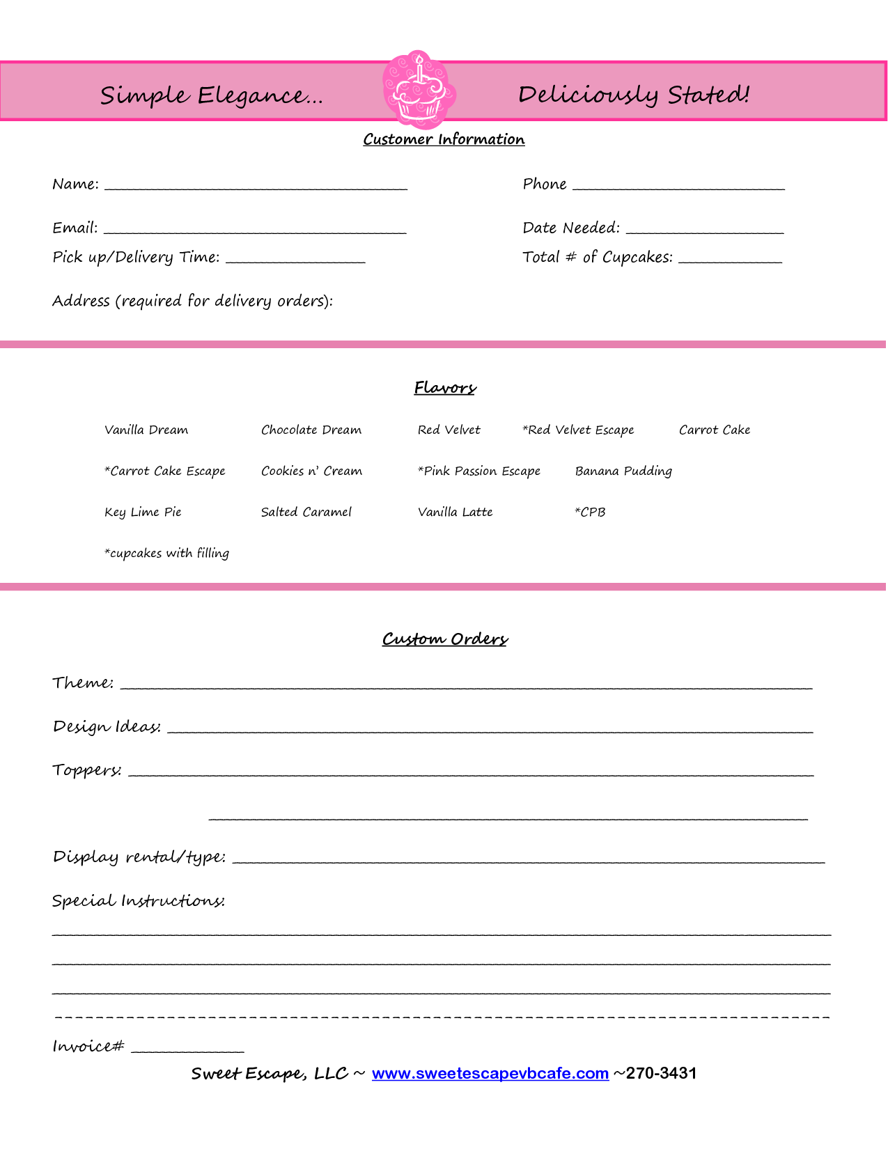 Cake Order Form Templates Free Cupcakes Pinterest – Sample Cake Order Form Template