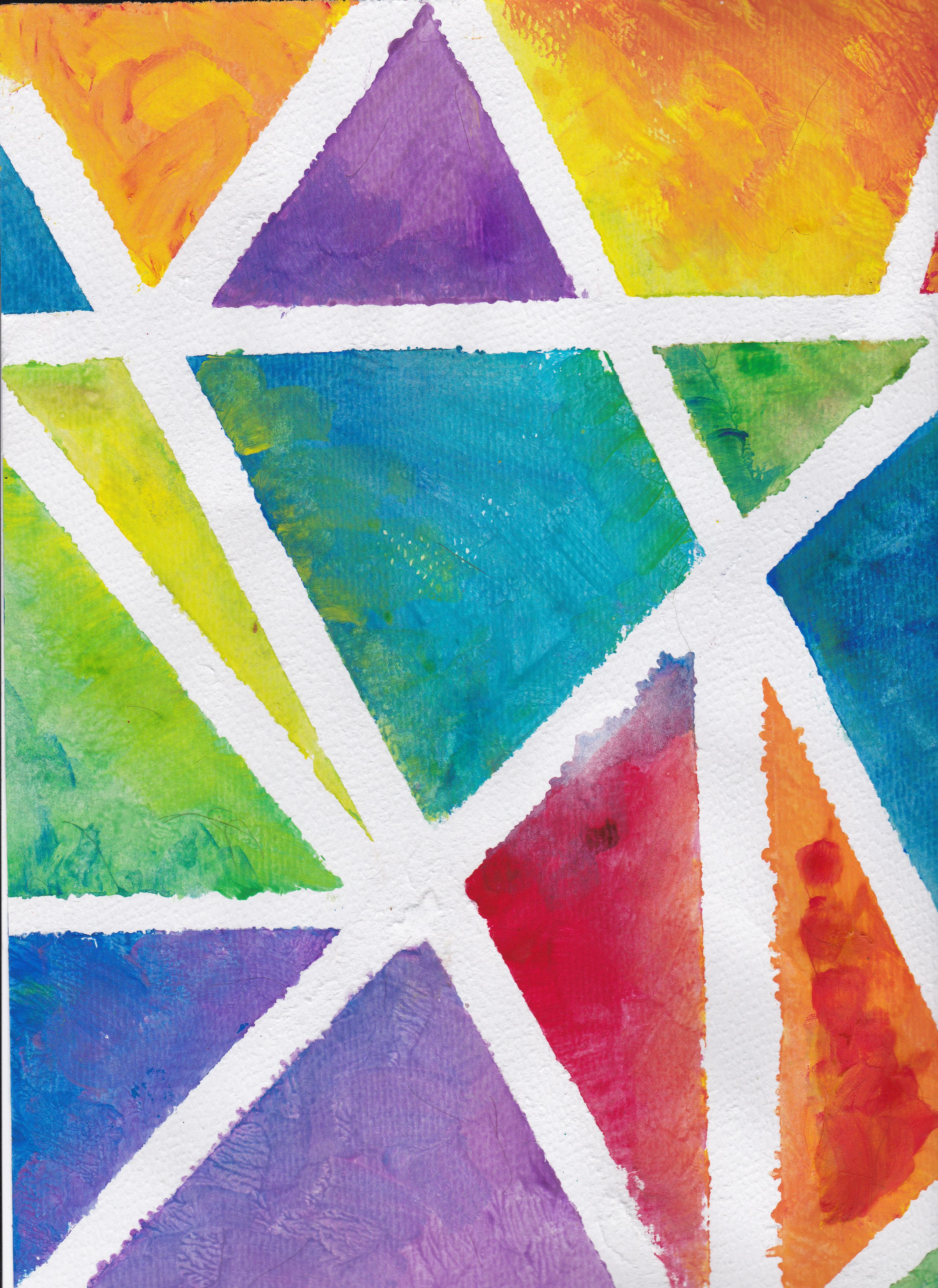 Color Theory Using Tape And Paint Abstract Art For