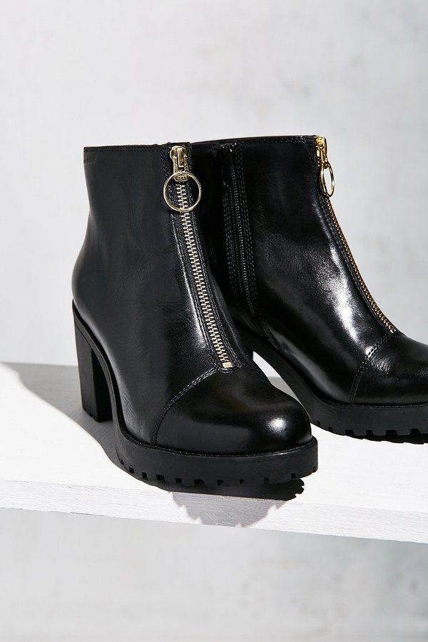 Women Black 100/% Real Leather Lace Ups Block Heeled Side Zipped Ankle Boots