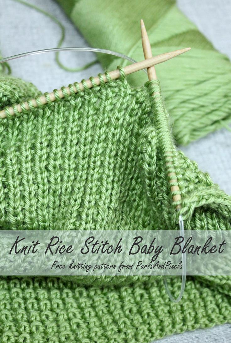 Rice stitch baby blanket free knitting pattern knitting free baby blanket knitting pattern rice stitch blanket from purlsandpixels bankloansurffo Gallery