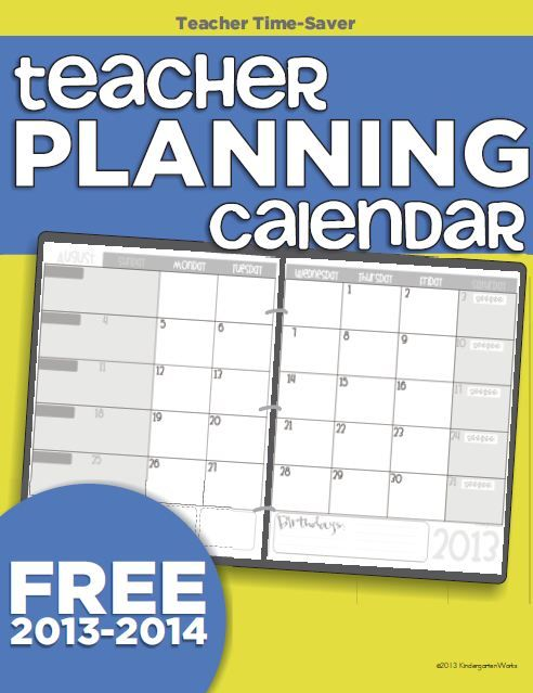 Printable  Teacher Planning Calendar Template  Printable