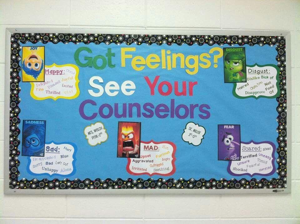 Inside out bulletin board school counselor bulletin