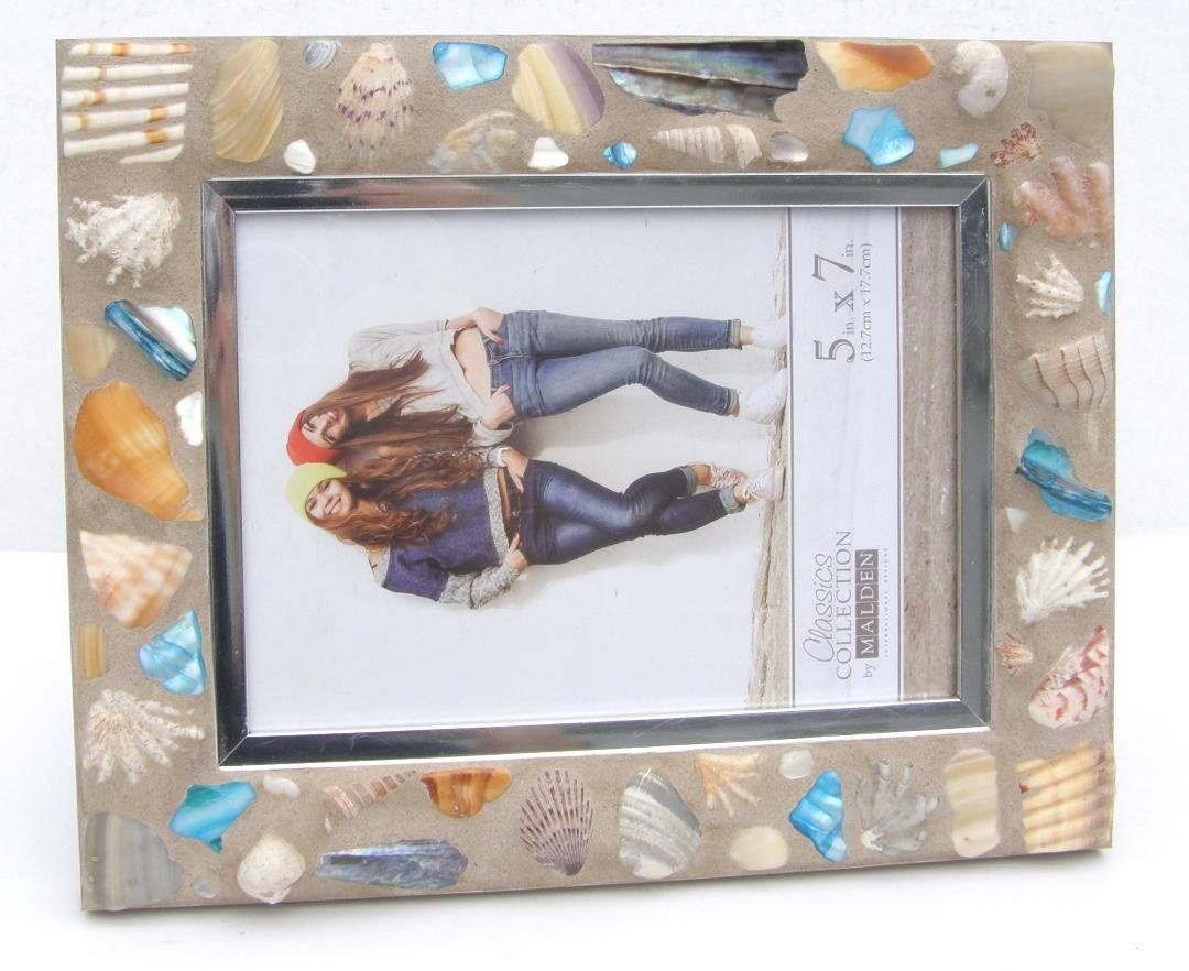 Blue Seashell 5 X 7 Mosaic Photo Frame Mother S Day Beach Seashell Decor Coastal Living Cottage Chic Photo Mosaic Frame Seashell Frame