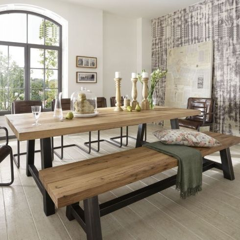 Solid Wood Metal Dining Table Bench