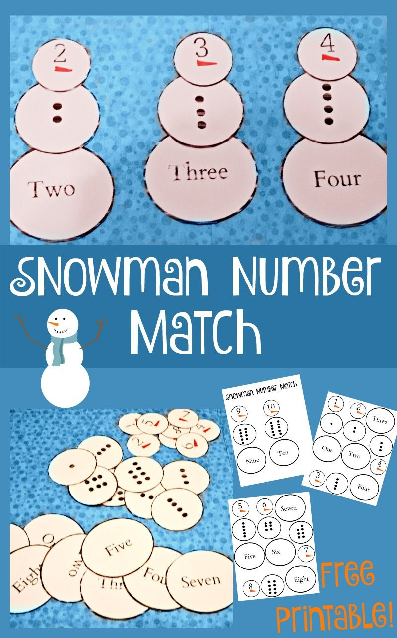 This fun free printable snowman number match game is a