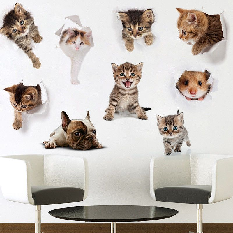 Home Decor 3d Cute Cat Wall Sticker Animal Home Pet Shop Decoration Picture Wall Sticker Home Garden Devidesert Com