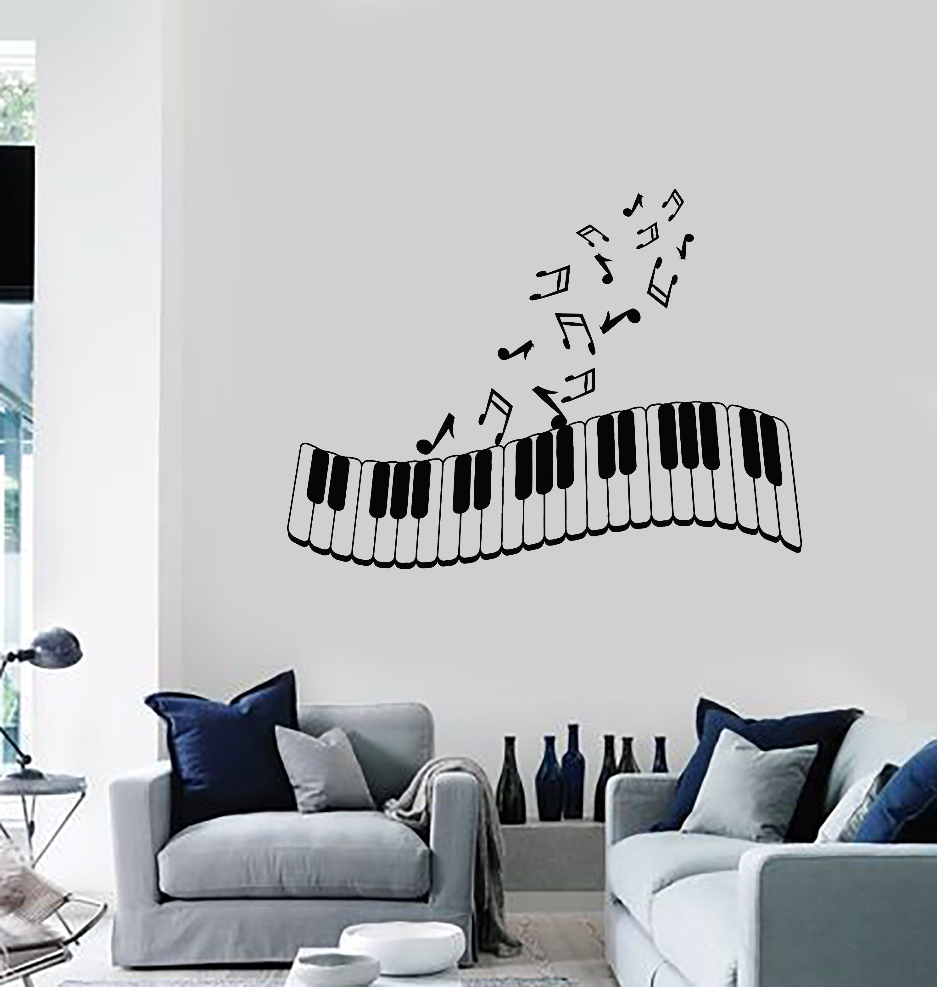 vinyl wall decal piano musical notes music art living room on wall stickers for living room id=37725