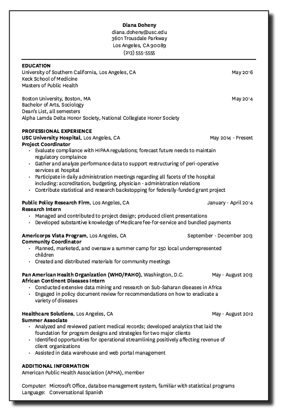 Example Of Usc University Hospital Resume Examples Resume Cv Resume Template Examples Usc University