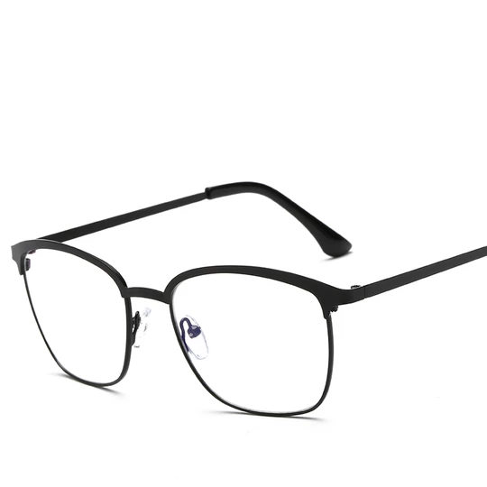 Photo of Black Silver Metal Eyewear Frames Prescription Eyeglasses With Clear Lens Fake Optical Glasses Spectacle Frames for Men Women