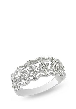 Julie Leah Diamond Flower Filigree Ring Jewelry Sterling Silver Jewelry Rings Silver Diamonds