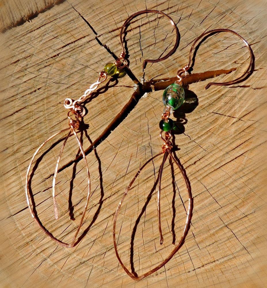 Copper Leaf asymmetrical earrings