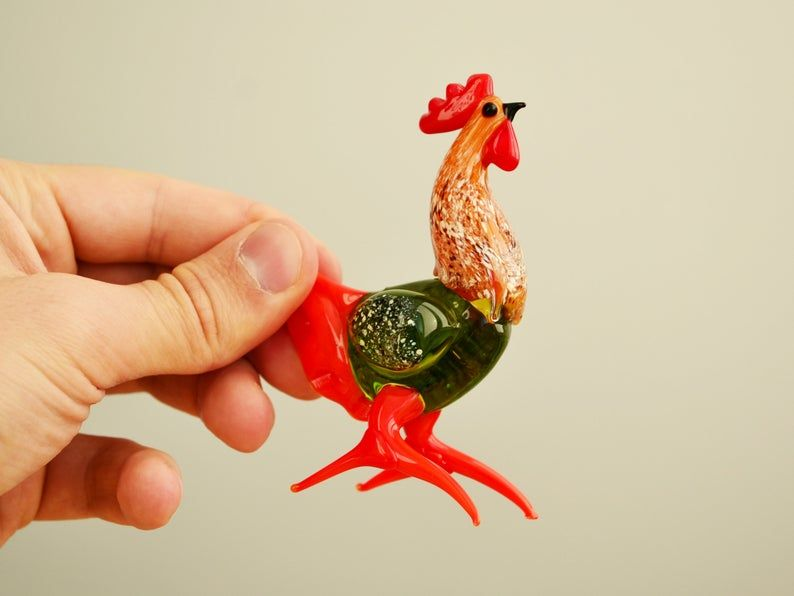 Glass rooster figurine  Cock collection  Glass rooster statue  Glass animal figurine  Miniature rooster