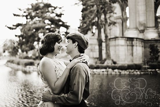 Our 1930's inspired engagement photos taken at the Palace of Fine Arts by George Street Photo. Monogram designed by http://www.rachaelschaferdesigns.com/