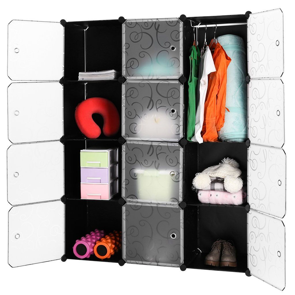 Langria 12 Cubby Shelving Modular Cube Diy Shoe Rack Storage Drawer Unit Multi Use Modular O Storage Closet Organization Bookcase Organization Modular Shelving
