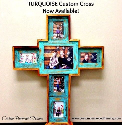 cross frame large custom cross turquoise custom barnwood frames