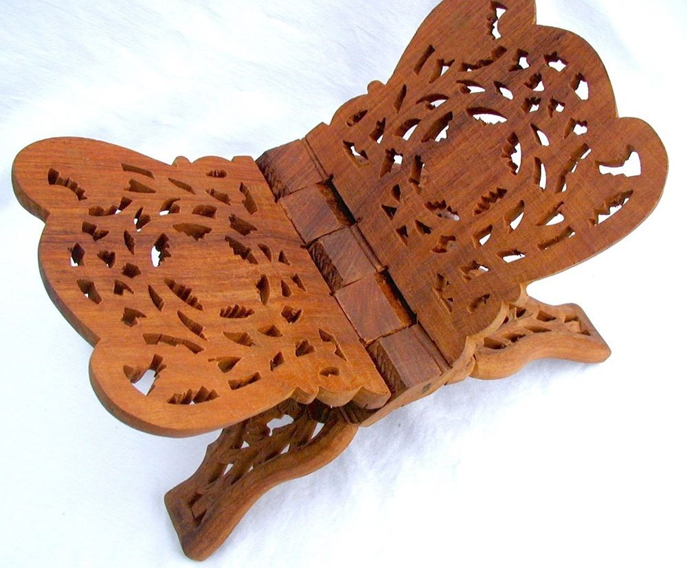 Book Bible Stand Sheesham Wood Hand Carved Leaf Floral Foldable India Mint Med #Handcrafted