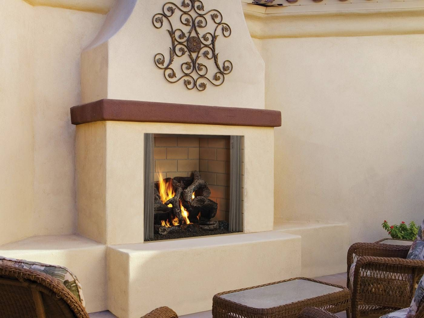 stucco fireplaces. Outdoor Fireplace Stucco Surround With Wood Mantel  Fireplace