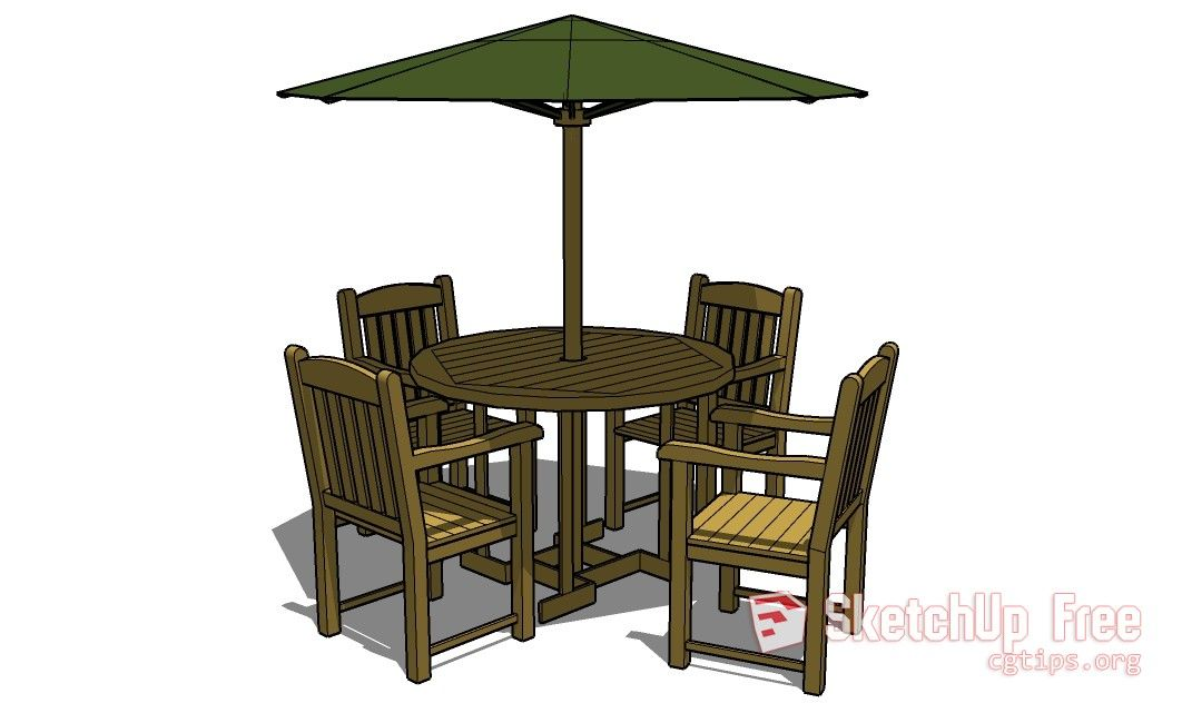 601 Table Chair Sketchup Model Free Download In 2020 Table And