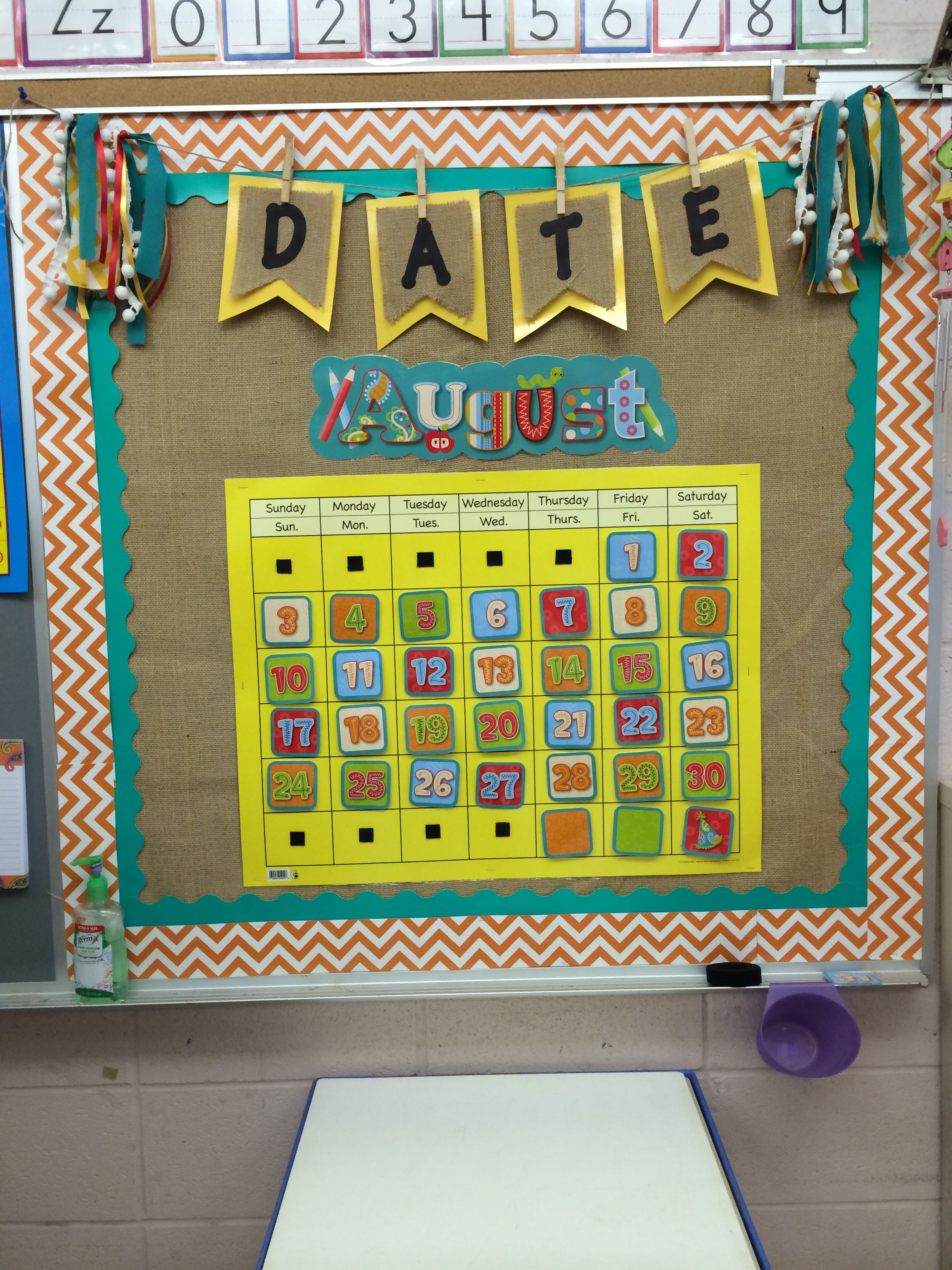 Classroom Calendar Bulletin Board Ideas : My calendar bulletin board burlap chevron and bunting