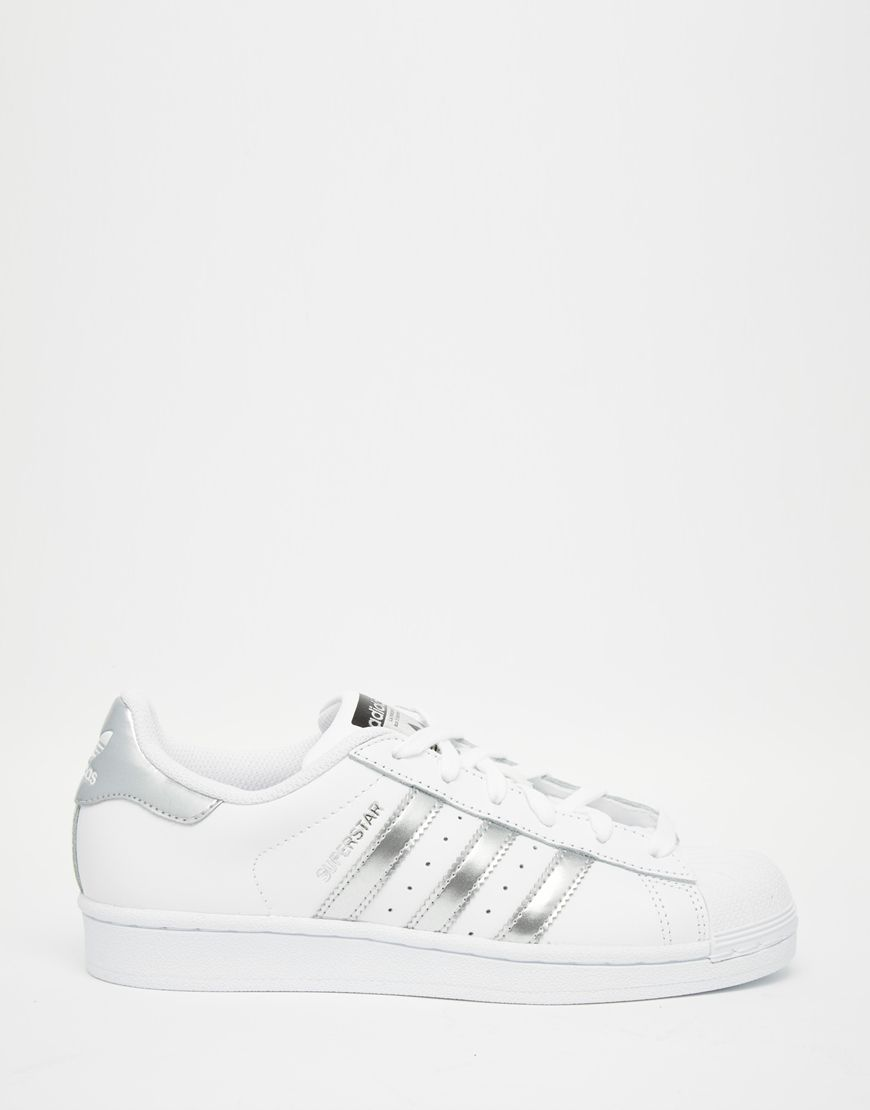 dcad17e3fd5f Image 2 of adidas Originals White   Silver Superstar Sneakers
