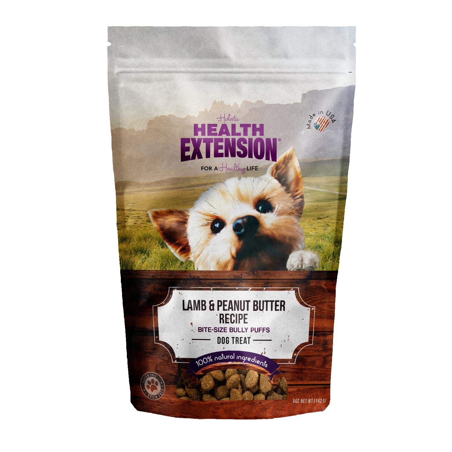 Health Extension Bully Puffs Dog Treat Lamb And Peanut Butter 5 Oz 142 G For More Information Visi Peanut Butter Dog Treats Dog Treats Grain Free Dog Treats