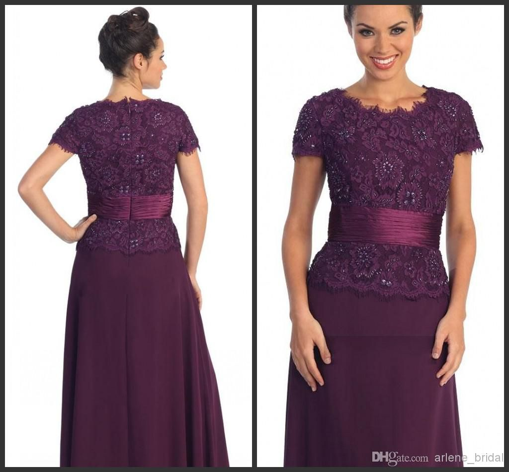 59b36f68e7b 2015 Fashion Autumn Crew Short Sleeve Purple Ankle Length A Line Beads Lace  Applique Sash Zipper Mother Of The Bride Dresses Custom Made Gowns For  Mother Of ...