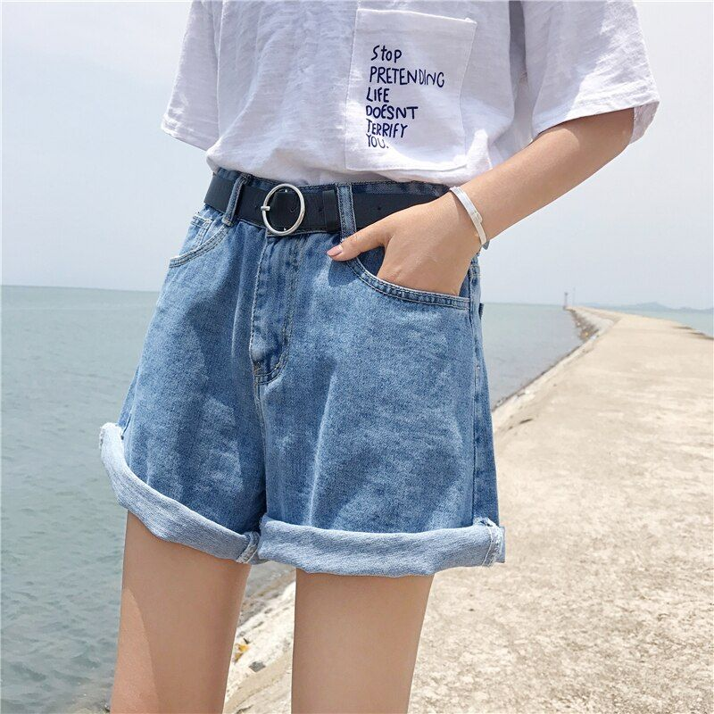 Summer Women S Jeans Korean Simple Large Size High Waist Denim Shorts Flanged Casual Wide Leg Jeans In 2020 Denim Outfit High Waisted Shorts Denim Short Outfits